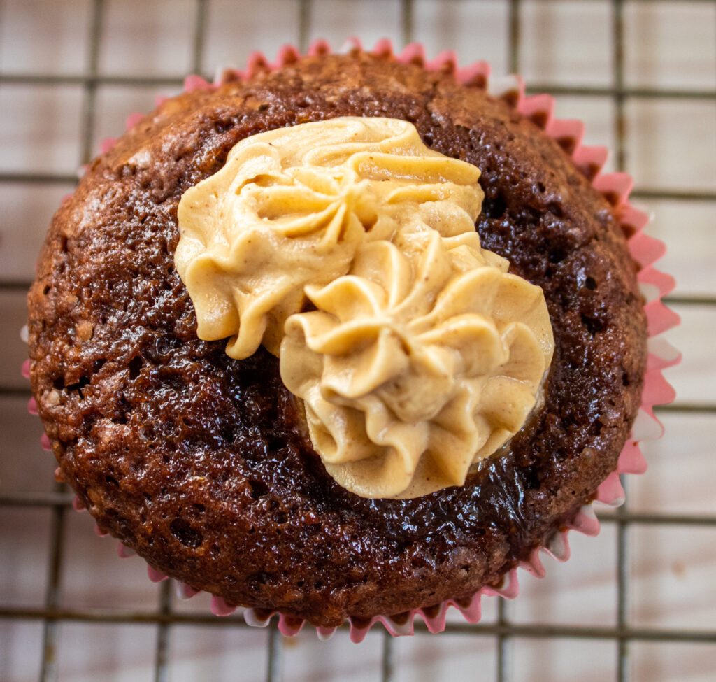 frosted brownie banana bite overhead single cupcake