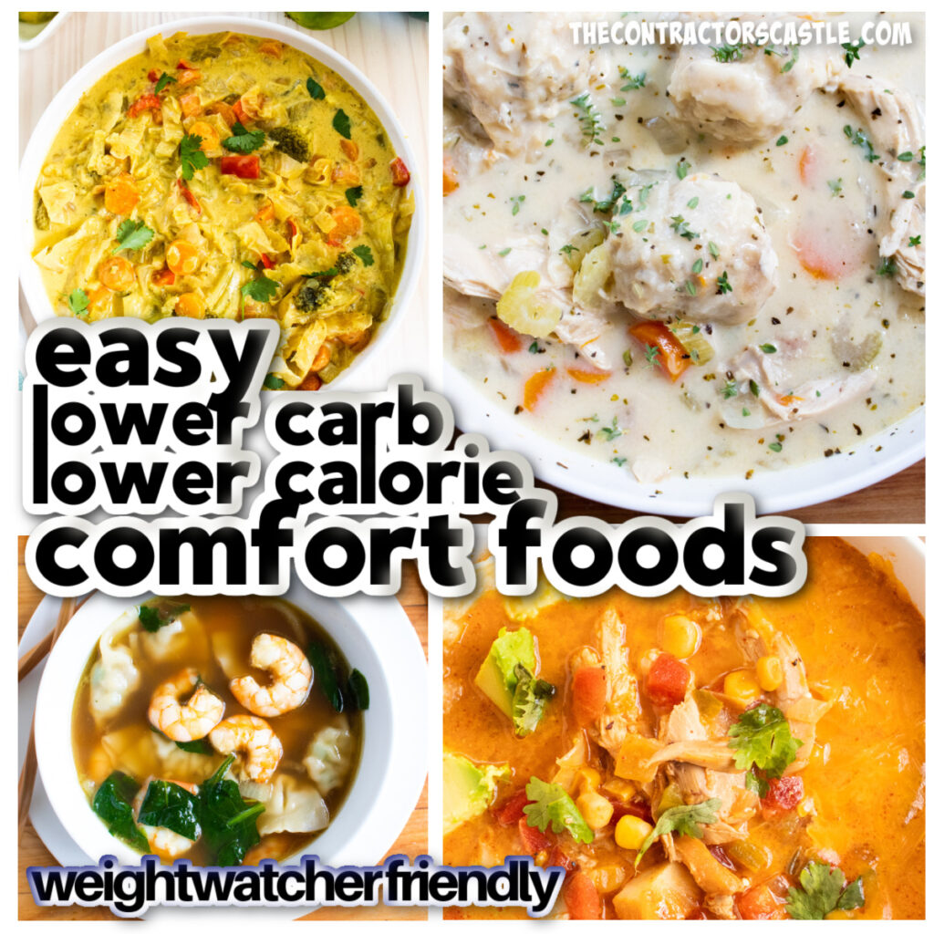 facebook post pic of 4 lower carb comfort foods