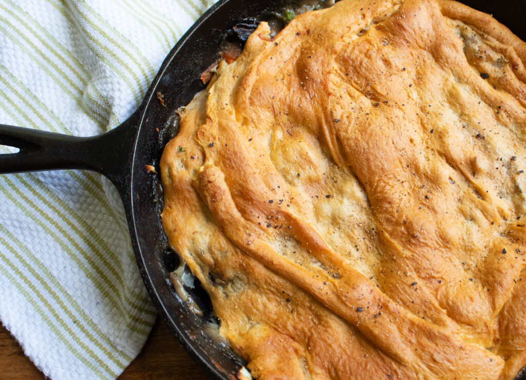 lower carb chicken pot pie in a cast iron pan
