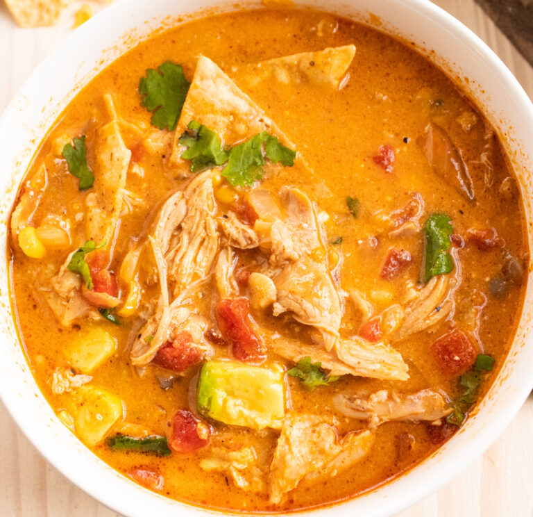 close chicken tortilla soup overhead