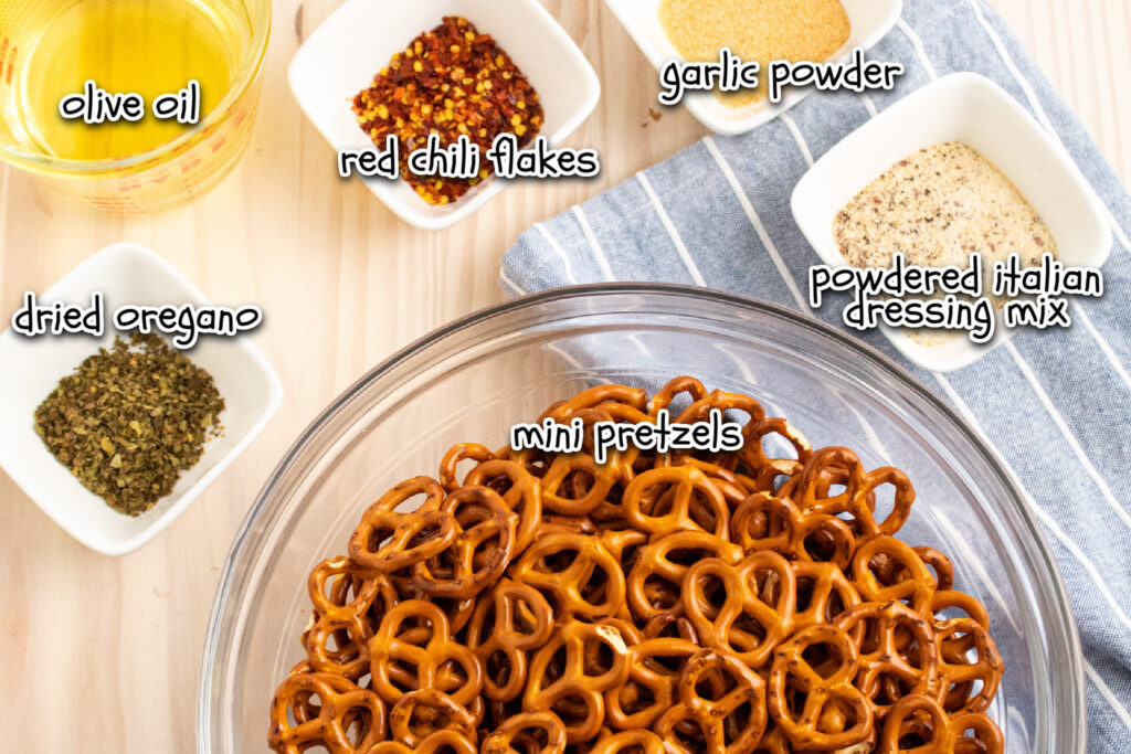 ingredients for Italian zesy mini pretzels with labels
