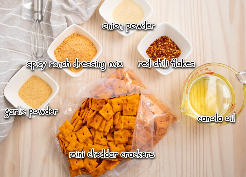 ingredients for spicy cheddar snacks with labels