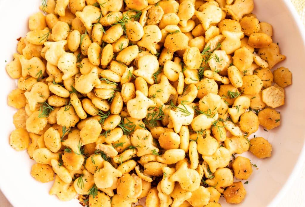 overhead picture of golden italian garlic dill snack crackers