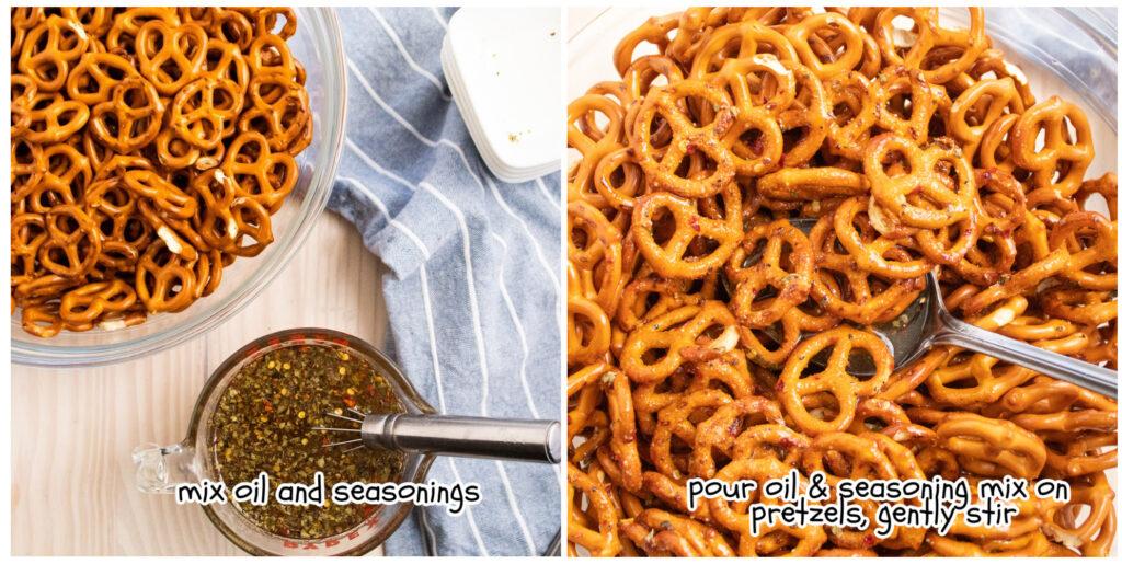 mixing instructions pictures for zesty Italian seasoned mini pretzels
