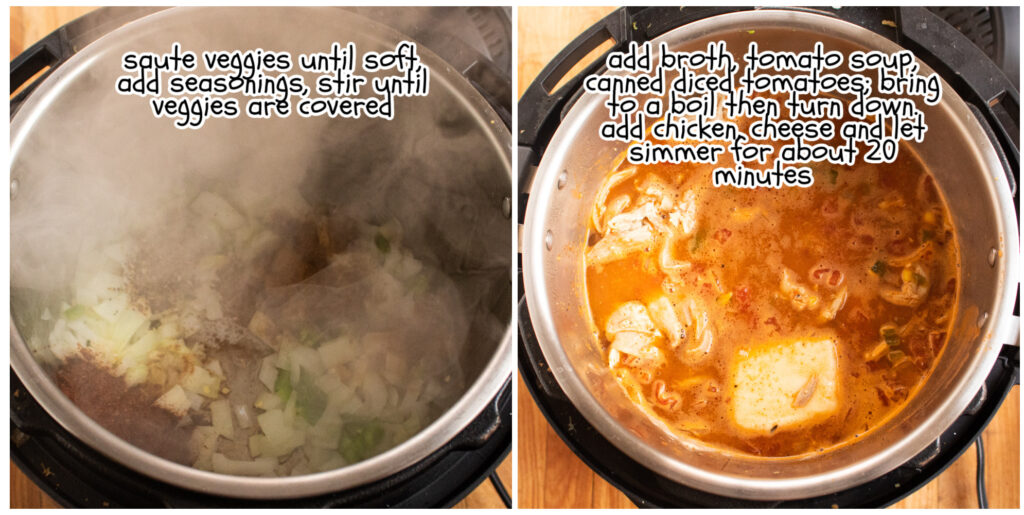 step one and two instruction on how to make Chicken Tortilla Soup