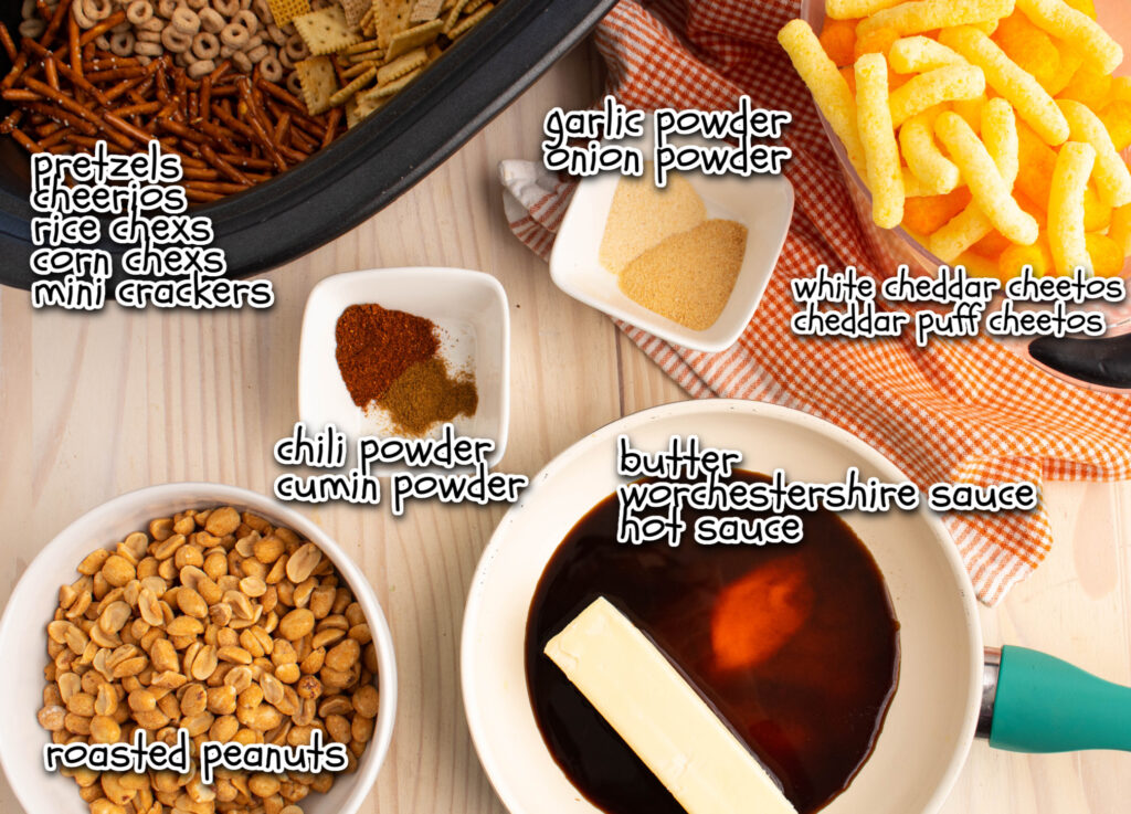 homemade chex mix ingredients with labels